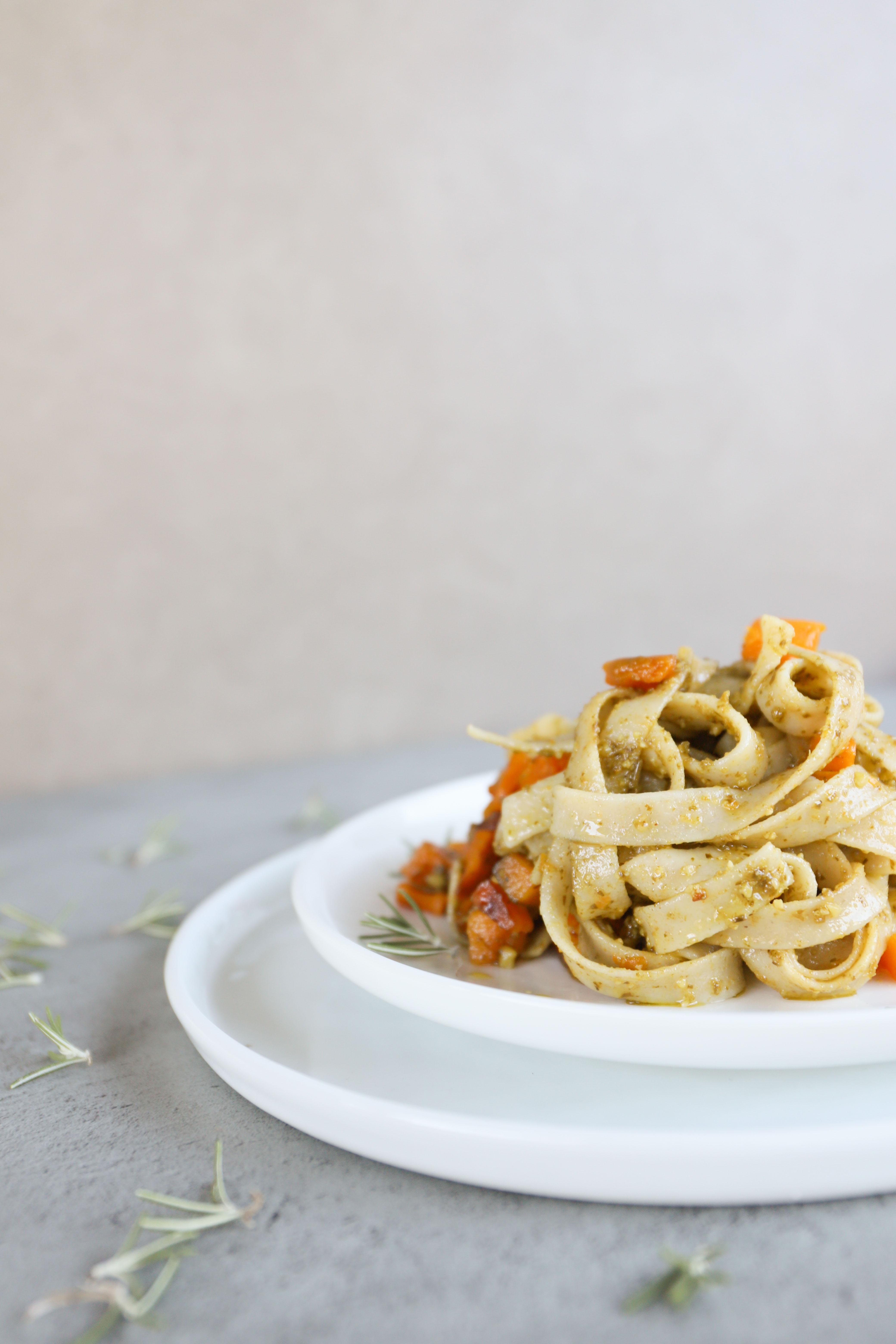 tagliatelle pesto e zucca-mygreenfood