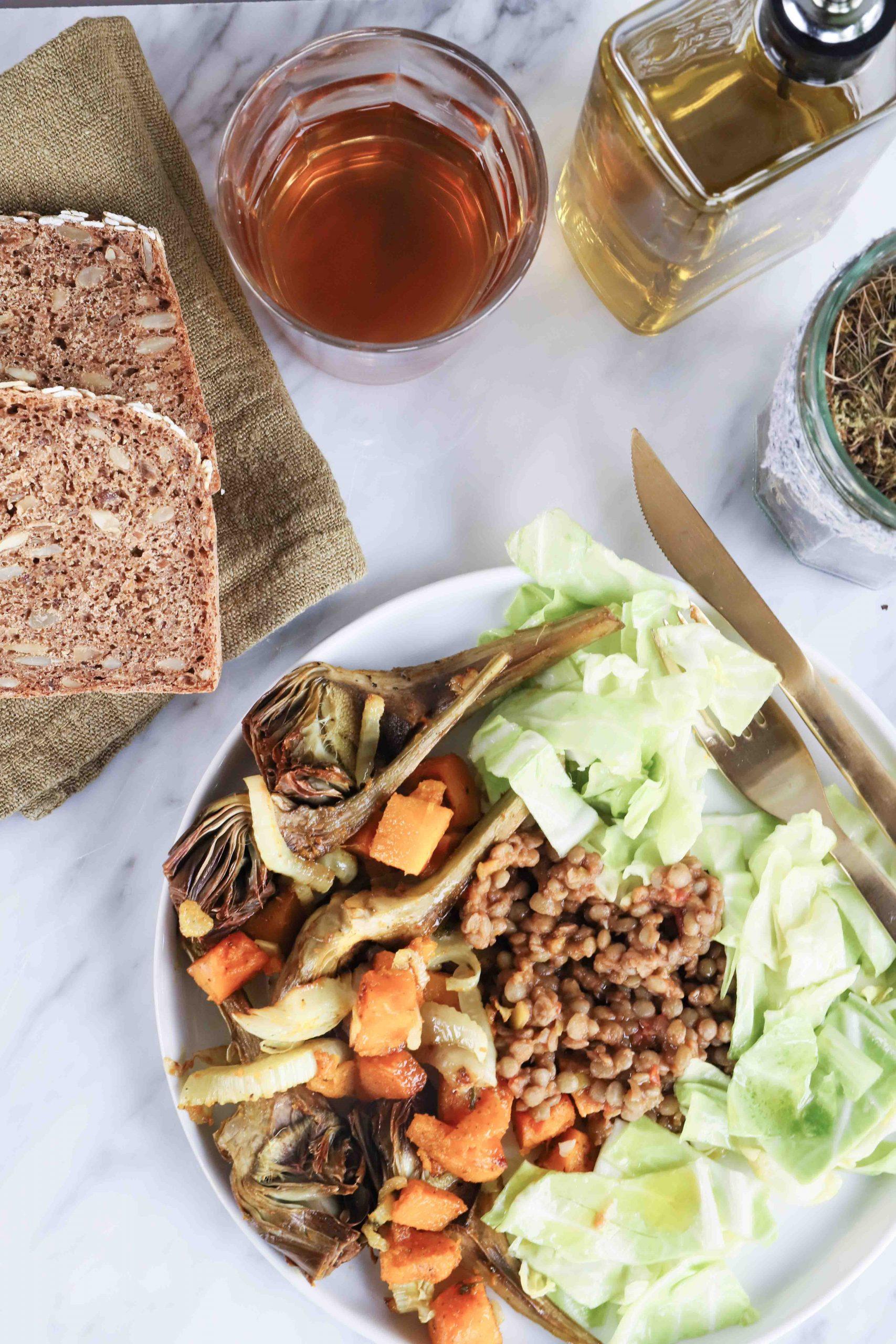 Lenticchie verdure al forno e cappuccio mygreenfood